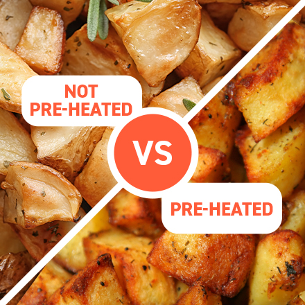 The Benefit of Preheating   You won't find a preheating option in many other air fryers. Preheating visibly improves food texture and takes 2 to 5 minutes! That certainly beats the time-consuming preheating of traditional ovens.