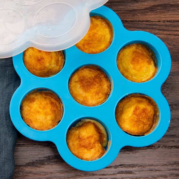 Egg Bites Mold   Perfect for baking egg bites and mini muffins. The silicone lid preserves freshness while stored in a refrigerator.