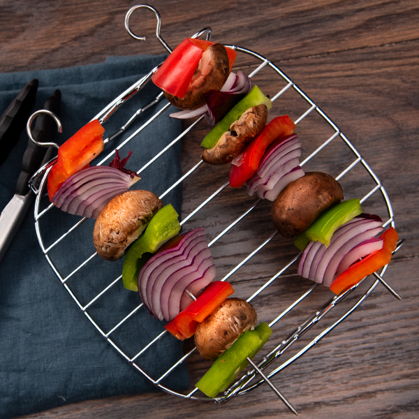 Multipurpose Rack with Skewers   Put together some kebabs, hotdogs, or s'mores.