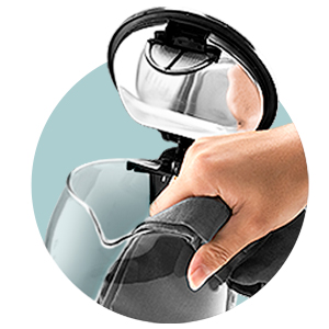Wide-Mouth Opening   Easily reach the inside of the kettle through its opening to wipe down or wash the glass with a rag or sponge.