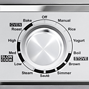 11 Micro-processor Controlled Programs   Access any of the 11 cooking options with the dial on the left: Bake, Roast, Slow Cook (on Low, Medium, or High), Steam, Sauté, Simmer, Brown, Boil, Yogurt, Rice, and Manual.
