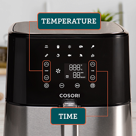 Adjustable Time & Temperature  Customizable for every dish, the air fryer features separate buttons for time and temperature.