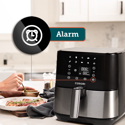 Alarm Function  Don't worry about keeping track of the time! The Alarm function reminds you when to shake your food, guaranteeing an even fry.