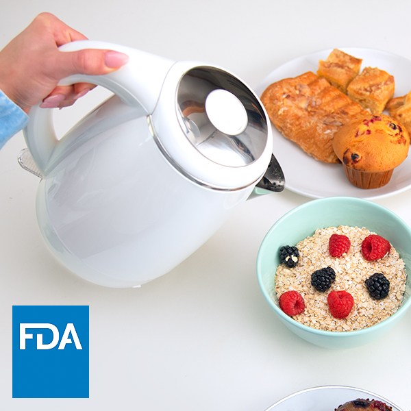 Safe Materials   The kettle is FDA compliant and built with a food-grade stainless steel interior, so plastic never touches your water.