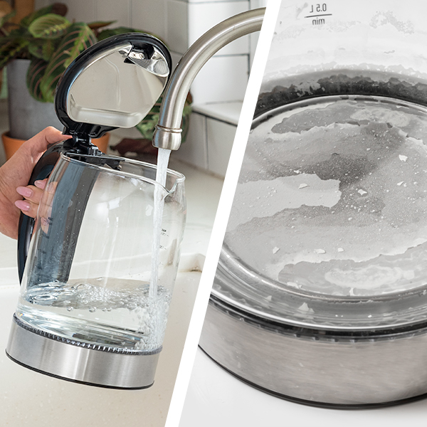 Limescale   Using tap water can lead to a buildup of dark or light spots (limescale) inside your kettle. Not to worry, this is harmless. It's caused by the minerals in tap water.