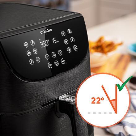Ergonomic Design   The fryer's touch screen display is angled to face you, increasing visibility and ease of use.