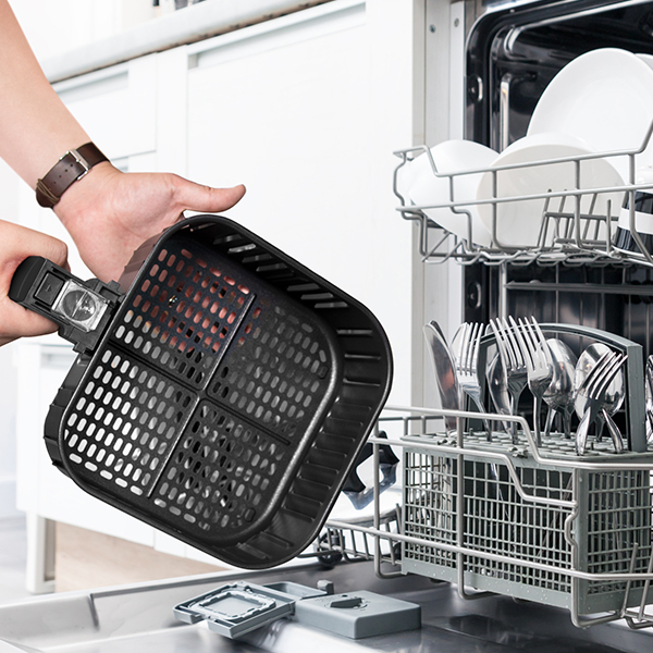 Dishwasher Safe Basket   Our air fryer is easy from start to finish. When you're done eating, let your dishwasher take care of clean up! The detachable basket is PFOA-free.