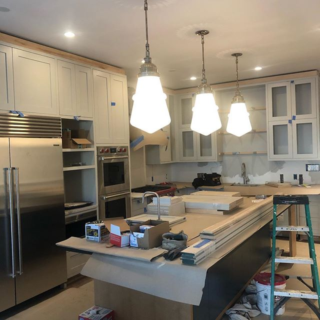 The Eddystone Pendant is the perfect meld of our original 100+ year old home and the modern addition. Almost at the finish line!  #dustbegone #design #designer #designlife #customkitchen #rva #804