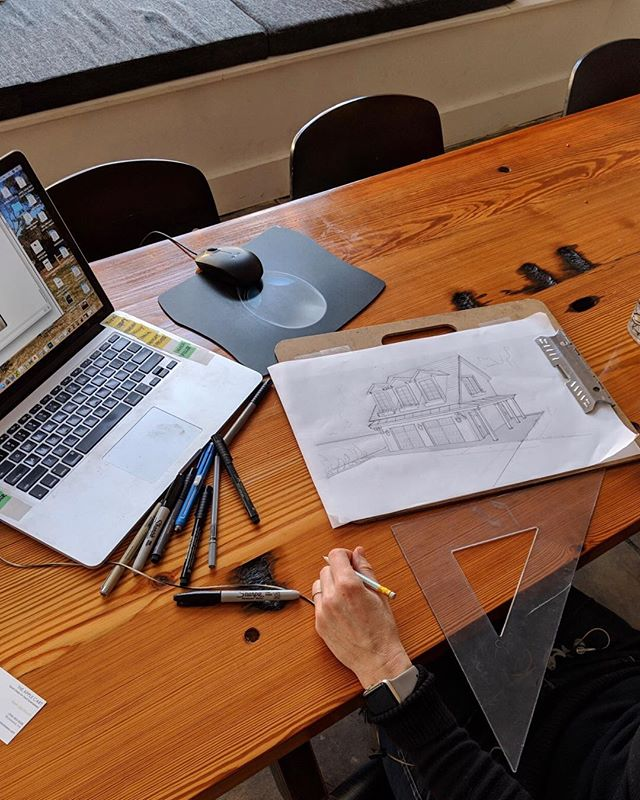 Prepping for a client meeting with initial schematic drawings. #ilovemyjob #designer #interiordesigner #garage #homerenovation #homeaddition #804 #rva  #richmond