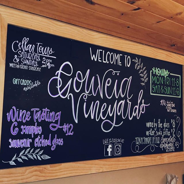 Well, I had a blast designing and bringing this chalkboard to life at @gouveiavineyards 🍇🍷🖌✨ ⠀⠀⠀⠀⠀⠀⠀⠀⠀ ⠀⠀⠀⠀⠀⠀⠀⠀⠀ ⠀⠀⠀⠀⠀⠀⠀⠀⠀ ⠀⠀⠀⠀⠀⠀⠀⠀⠀ ⠀⠀⠀⠀⠀⠀⠀⠀⠀ PS I am booking for 2019 🎉 get in touch 💌hello@alicianapierkowski.com ⠀⠀⠀⠀⠀⠀⠀⠀⠀ ⠀⠀⠀⠀⠀⠀⠀⠀⠀ ⠀⠀⠀⠀⠀⠀⠀⠀⠀ ⠀⠀⠀⠀⠀⠀⠀⠀⠀ ⠀⠀⠀⠀⠀⠀⠀⠀⠀ ⠀⠀⠀⠀⠀⠀⠀⠀⠀ ⠀⠀⠀⠀⠀⠀⠀⠀⠀ ⠀⠀⠀⠀⠀⠀⠀⠀⠀ ⠀⠀⠀⠀⠀⠀⠀⠀⠀ ⠀⠀⠀⠀⠀⠀⠀⠀⠀ ⠀⠀⠀⠀⠀⠀⠀⠀⠀ ⠀⠀⠀⠀⠀⠀⠀⠀⠀ ——— ⠀⠀⠀⠀⠀⠀⠀⠀⠀ ——— ⠀⠀⠀⠀⠀⠀⠀⠀⠀ #handlettering #calligraphy #lettersbylash #lettering #calligstagram #handlettered #artist #moderncalligraphy #chalkboard #chalkboardart #chalkboardsign #businesssign #smallbusiness #freelanceartist #calligrapher  #calligraphylove #weddingstationery #weddingseason #ctweddingseason #weddingvendor #weddingcalligraphy #signage #design #weddingseason2018 #weddingseason2019 #envelopecalligraphy #weddinginspiration #vineyard #ctweddings #chalkart