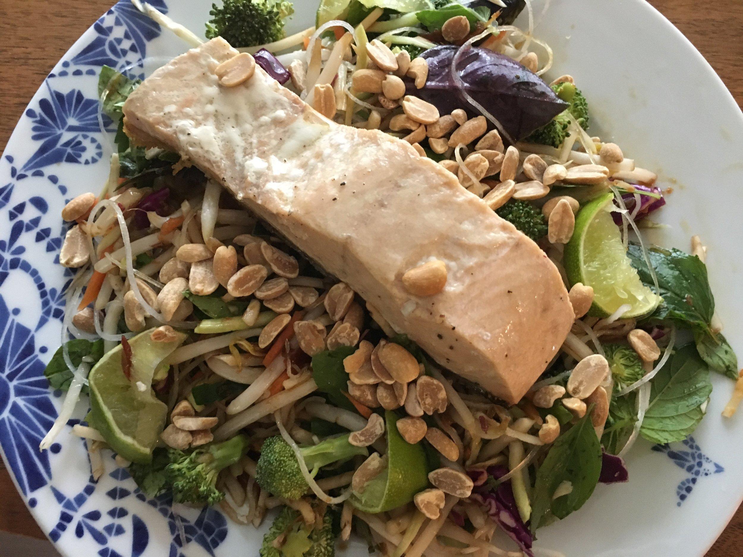 Salmon summer roll salad