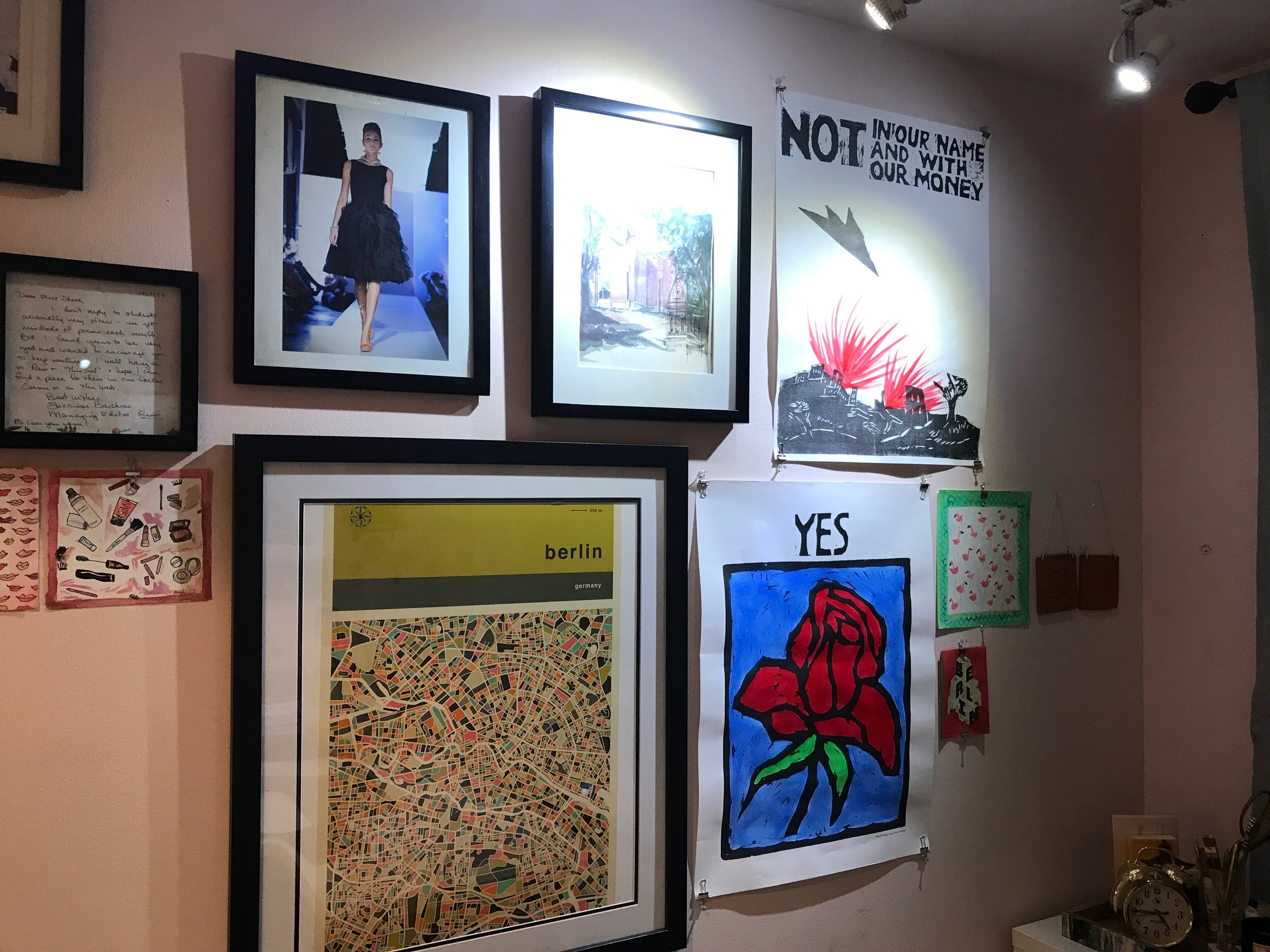 Hunt's art-filled office at Hello Holiday