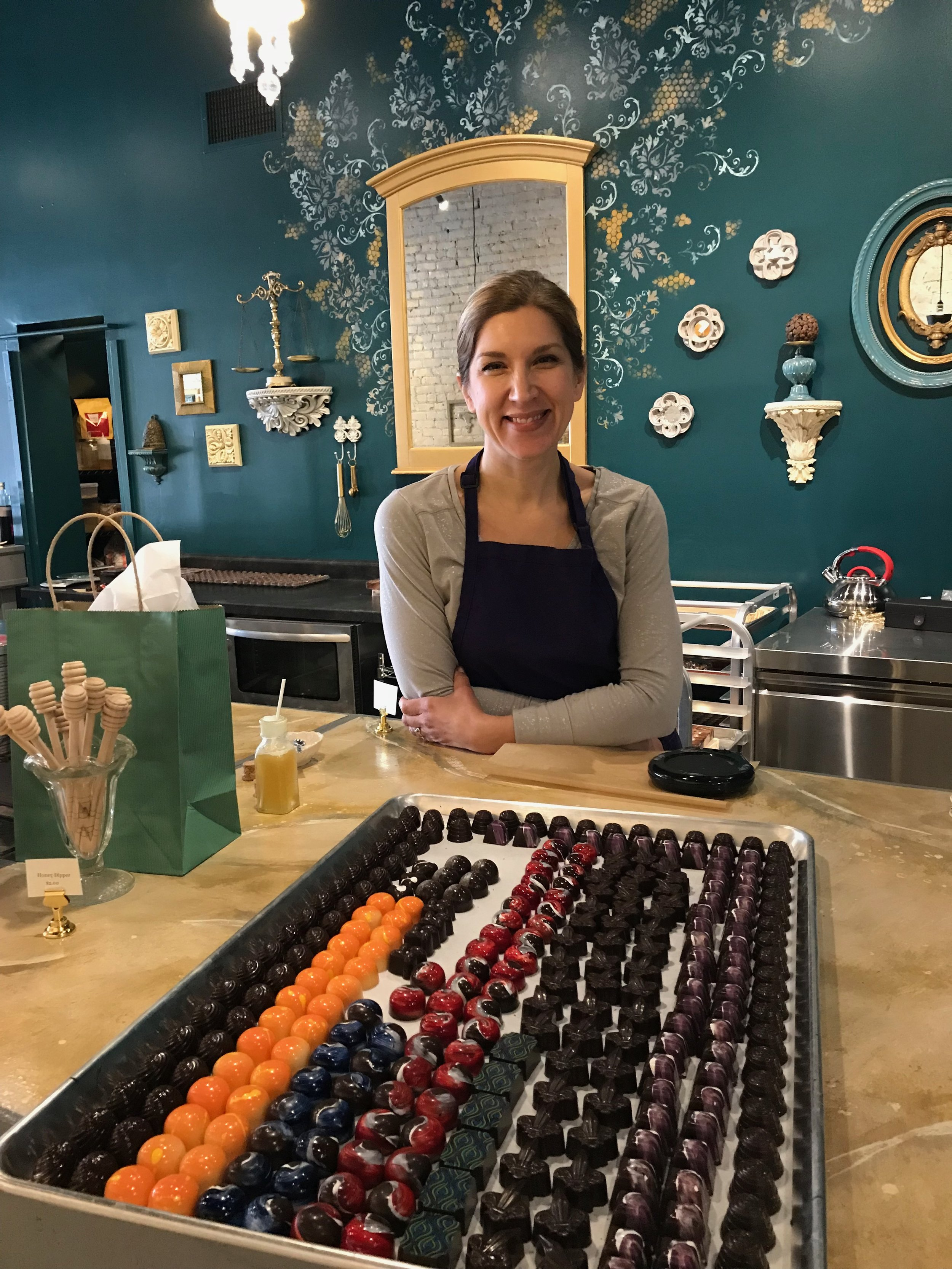 Tina in her beautiful dream shop, Chocolat Abeille.