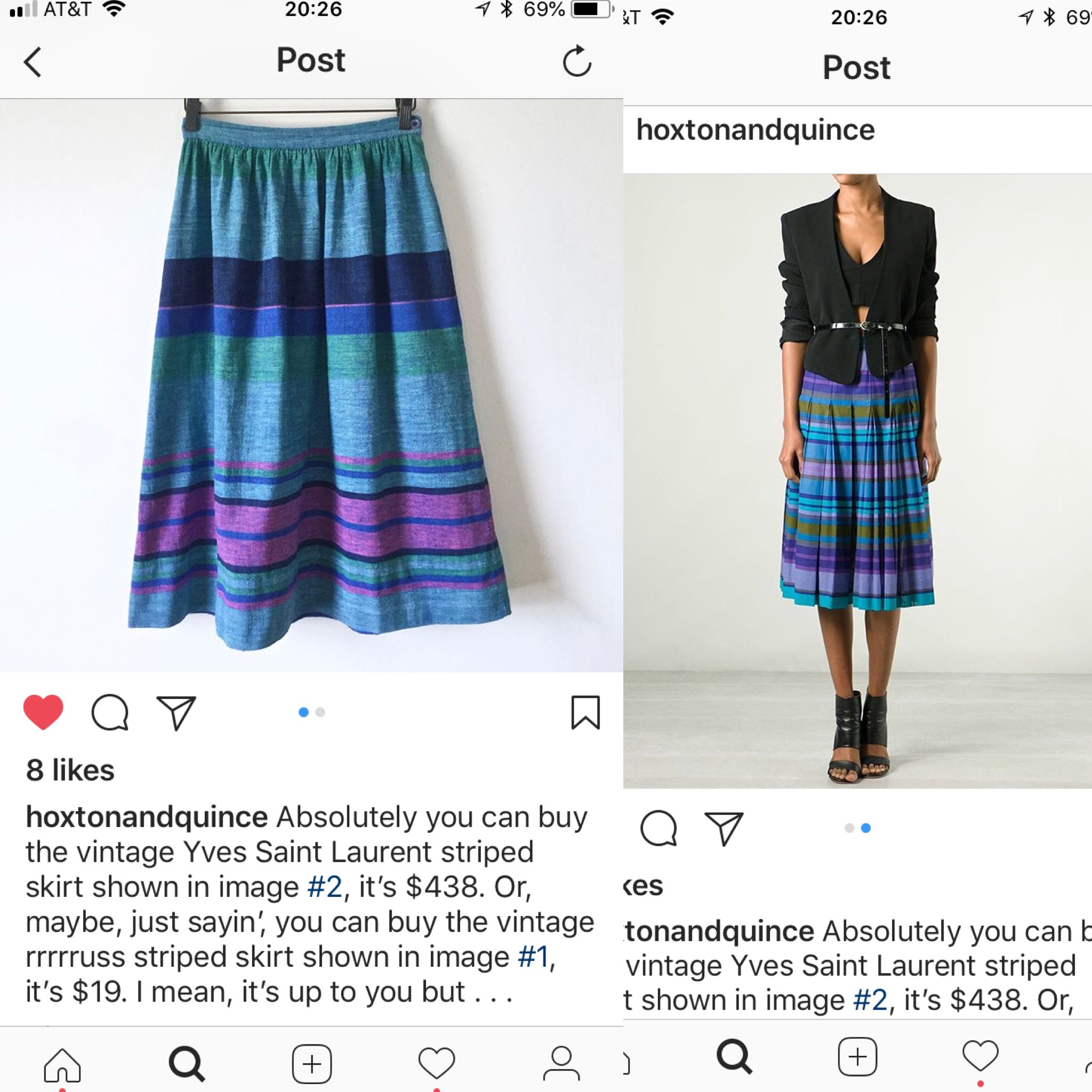 Comparison shopping on Hoxton and Quince's Instagram page.