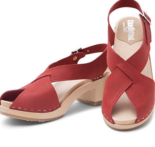 Sandgrens are handmade Swedish clogs that are about half the price of Hasbeens, but just as well-made and cute. I love the diagonal straps on  this pair  because they're elongating and I think they look a little more elegant than straight horizontal straps. Also, I love that they're in red -- now the angels will want to wear them!