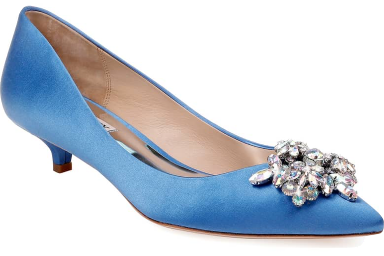 Midge's power color is any shade of pink, but honestly, she's never met a rich hue she didn't love. Vail Embellished Kitten Heel Pump in cerulean satin by Badgley Mischka, $130 at  Nordstrom .