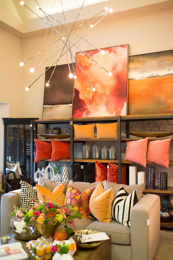 One of the most exciting things about visiting The Studio by JH is that it's ever-changing. I love the way showroom designer Robyn Zandt incorporated living coral and other beautiful trending colors into this space. (Photo credit: Stacie Kinney)
