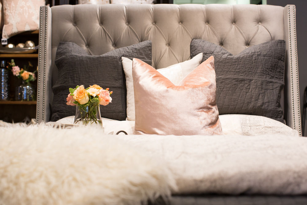 Influencer Brooke Wegner of Blushing Momma shared what she learned whilst collaborating with the jh Interior Design Studio team on her luxurious master bedroom. (Photo credit: Stacie Kinney)
