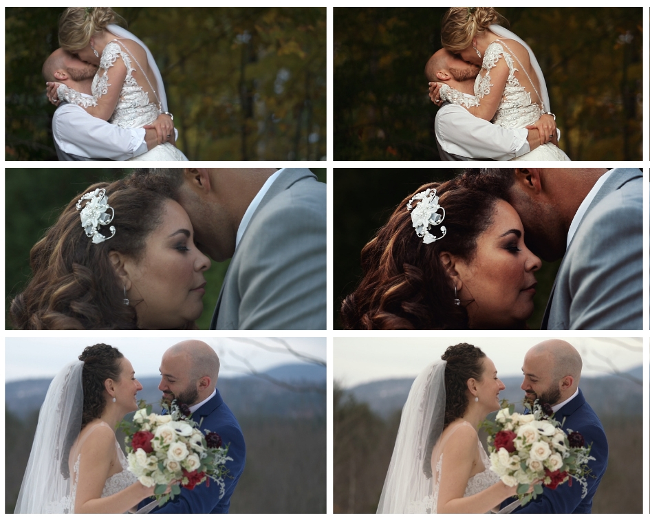 On the left you see what the clips look like straight out of camera. On the right, take a look at the color corrected and enhanced versions.