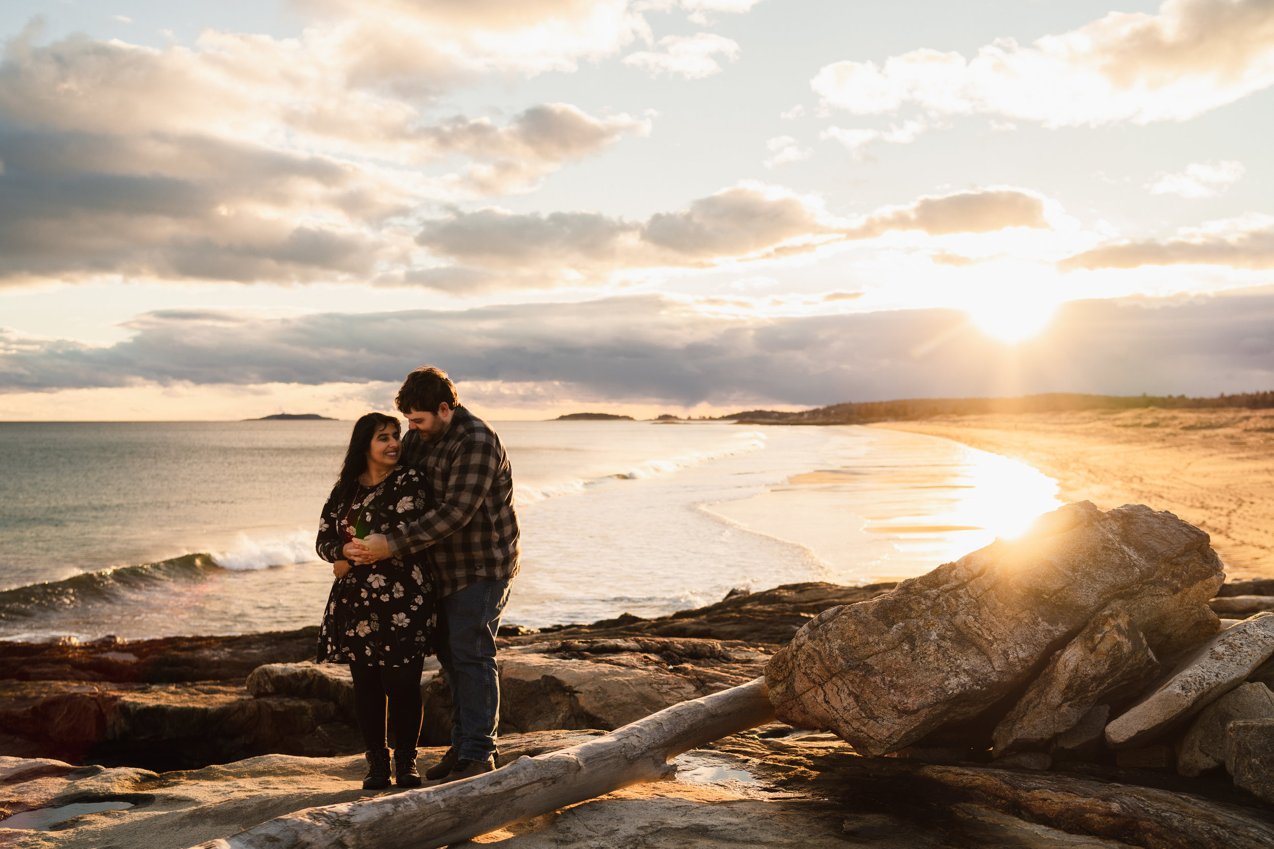reid state park maine sunset ocean engagement session1