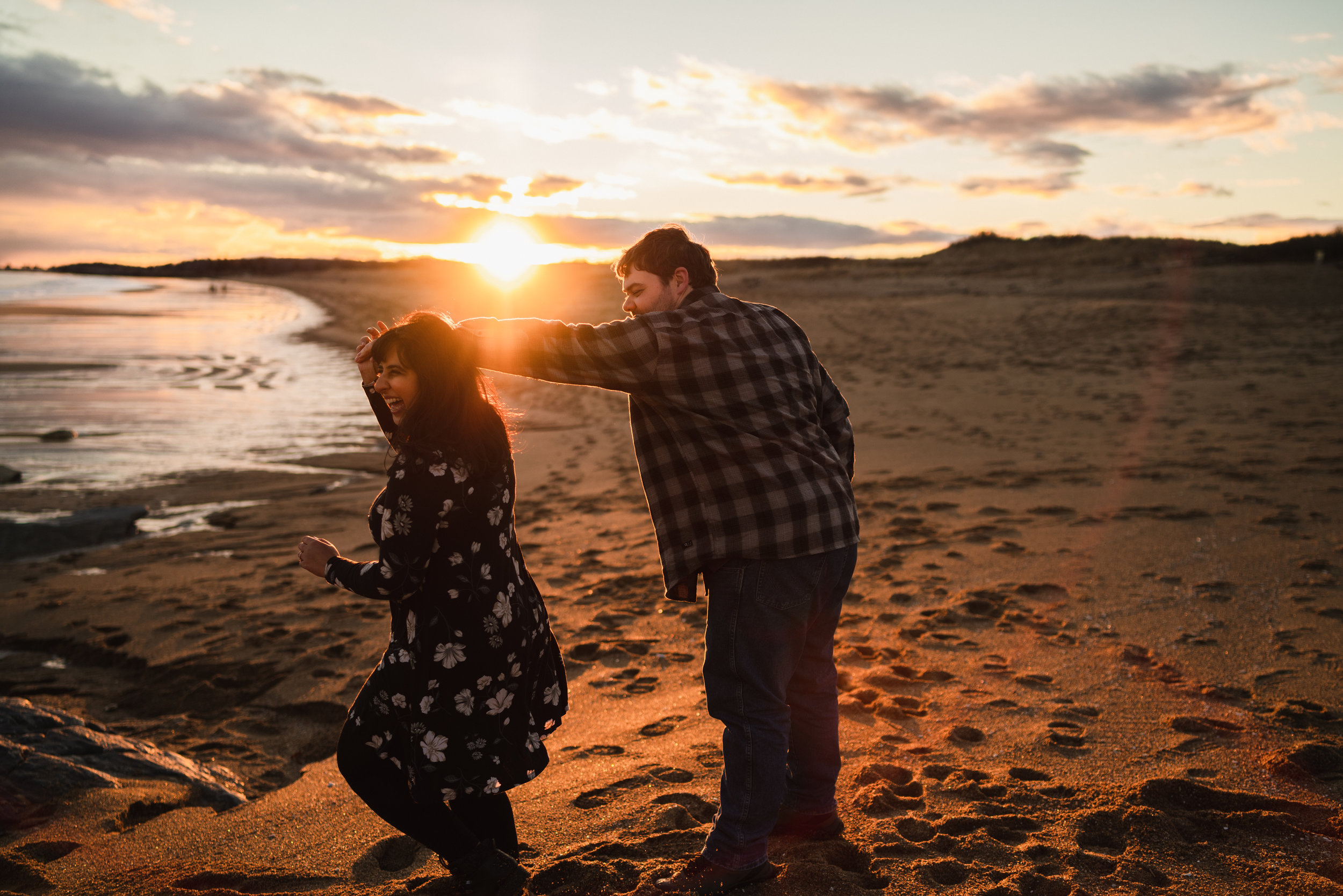 reid state park maine sunset ocean engagement session 7
