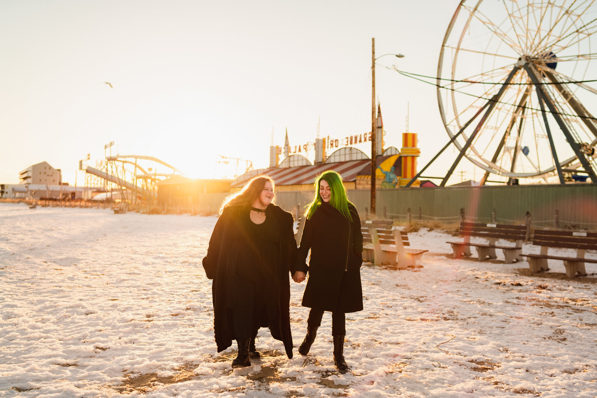 old orchard beach sunset couples session winter maine
