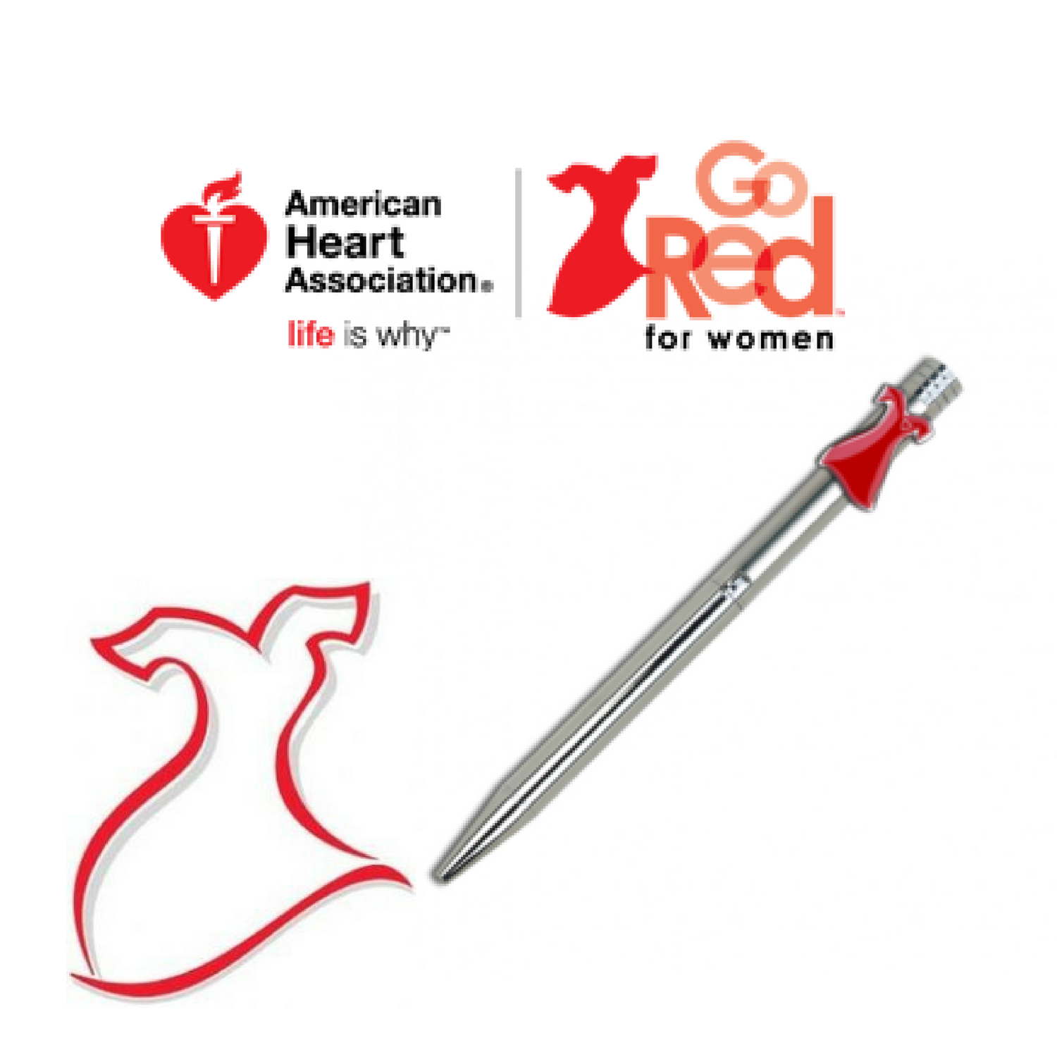 Branded  /     American Heart Association     Their Story:  Custom die cut clip pens for the American Heart Association for their annual Go Red for Women national fundraiser. They continue to be a hit  every  year!