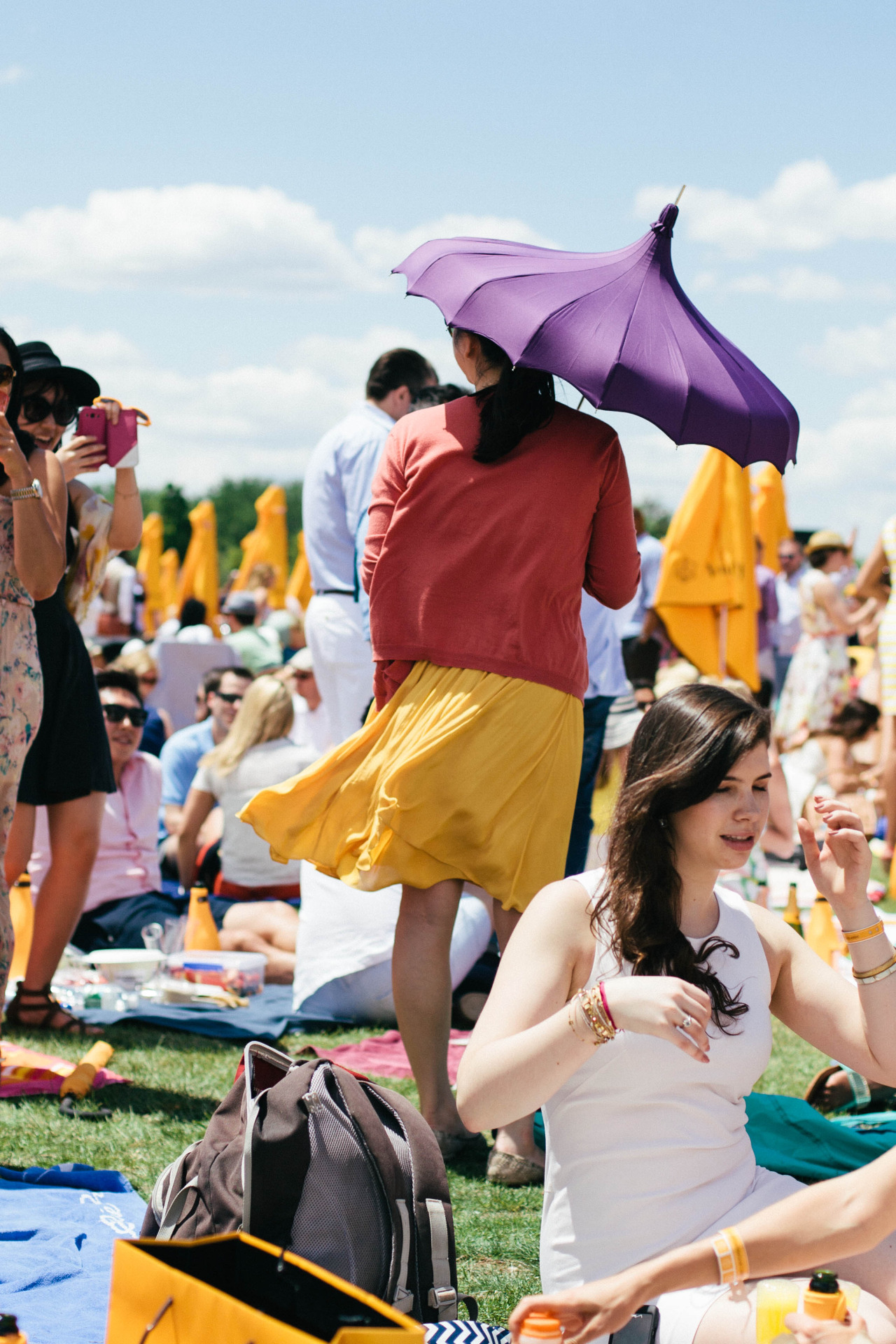 Purple parasol at the Veuve Cliquot Polo Classic. New York - May 2014.