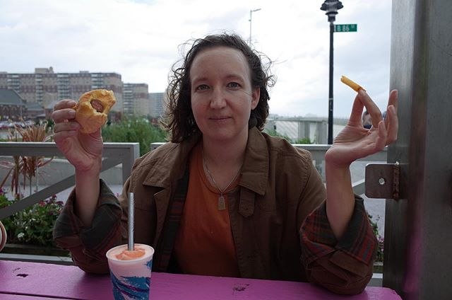 Hot dog + french fry + rainstorm at the beach!