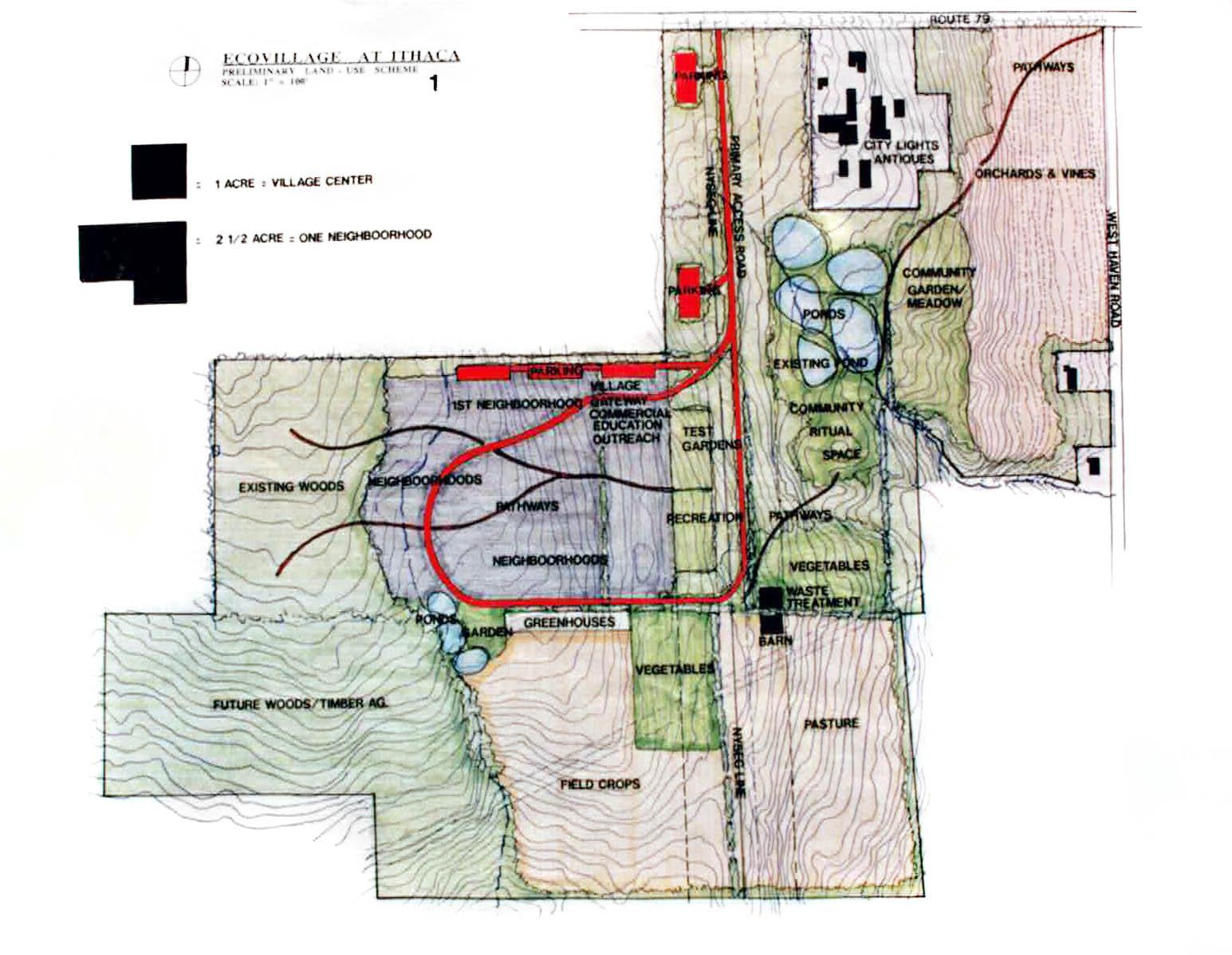 Ecovillage at Ithaca-Prelim-land use scheme-1993-1.jpg