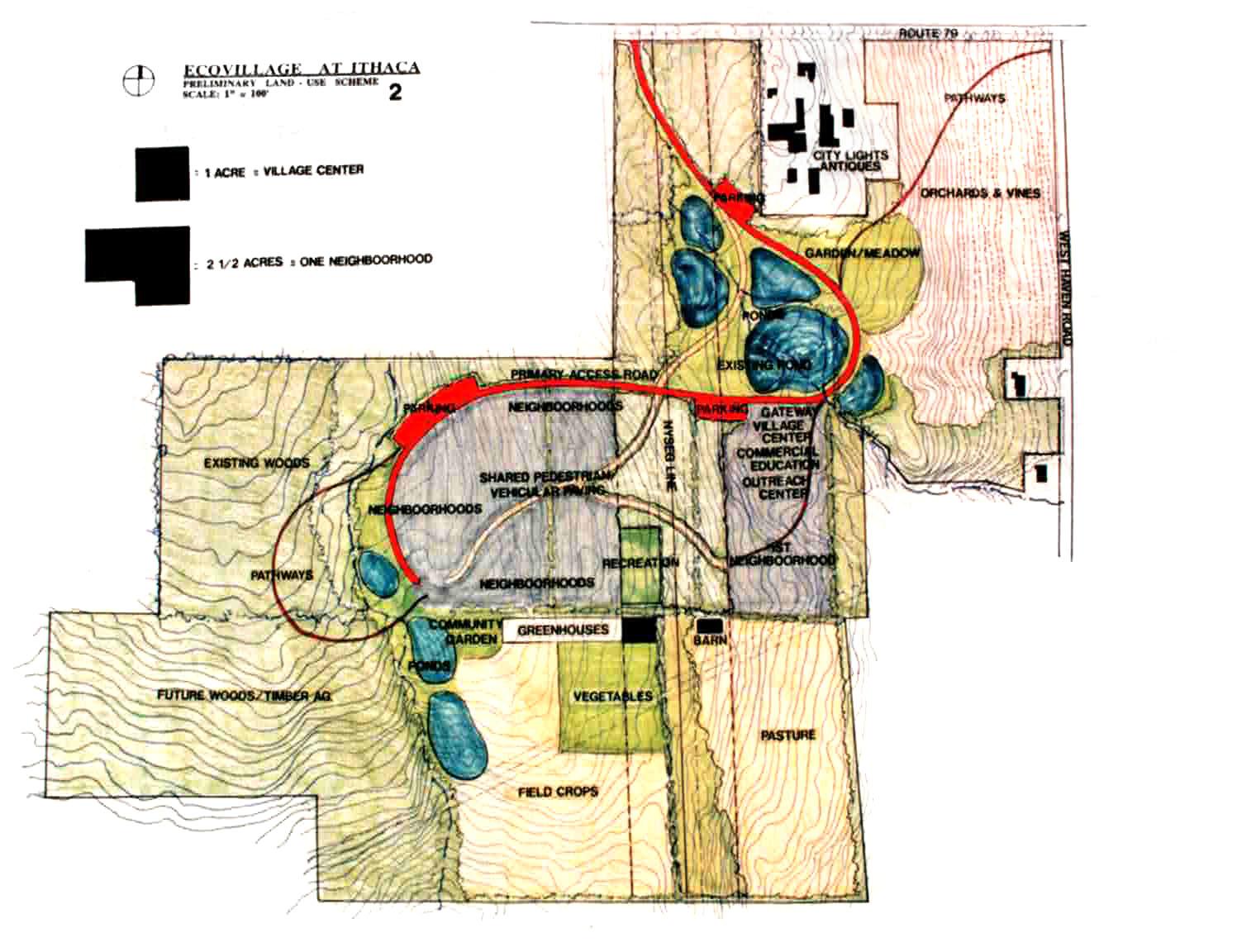 Ecovillage at Ithaca-Prelim-land use scheme-1993-2.jpg