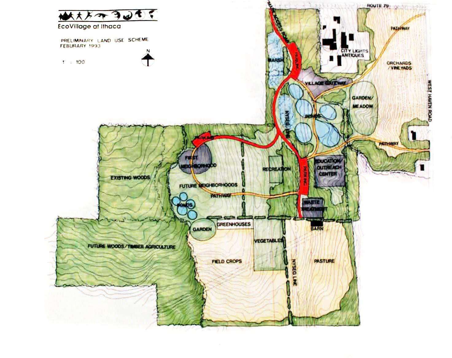 Ecovillage at Ithaca-Prelim-land use scheme-1993.jpg