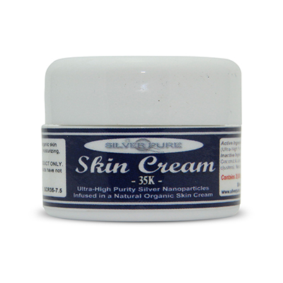 1/4 Ounce Jar-  Soothing, hydrating, nanosilver infused skin cream. Nanosilver is naturally antibacterial, antiviral and anti-fungal.    Contains  3-1/2% by weight  (35,000 ppm) of real nanosilver! We produce ultra-high purity .9999+ silver nanoparticle for use in our products. All natural, organic formulation with no harsh chemicals or preservatives. Use on any skin conditions on the surface of the skin. Contains over 1,000 times more real silver than typical silver gels!        Price:  $24.95
