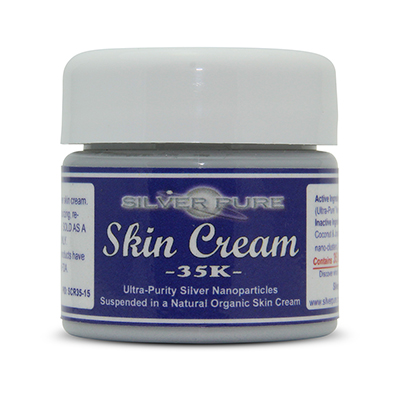 1/2 Ounce Jar -    Soothing, hydrating, nanosilver infused skin cream. Nanosilver is naturally antibacterial, antiviral and anti-fungal.    Contains  3-1/2% by weight  (35,000 ppm) of real nanosilver! We produce ultra-high purity .9999+ silver nanoparticle for use in our products.  Contains over 1,000 times more real silver than typical silver gels!     Price:  $39.95
