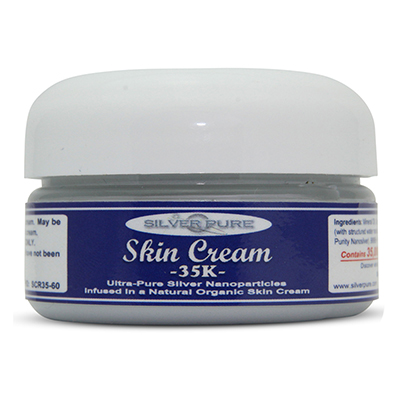 2 Ounce Jar -   Soothing, hydrating, nanosilver infused skin cream. Nanosilver is naturally antibacterial, antiviral and anti-fungal.    Contains  3-1/2% by weight  (35,000 ppm) of real nanosilver! We produce ultra-high purity .9999+ silver nanoparticle for use in our products. Use on any skin conditions on the surface of the skin. Contains over 1,000 times more real silver than typical silver gels!     Price:  $129.95