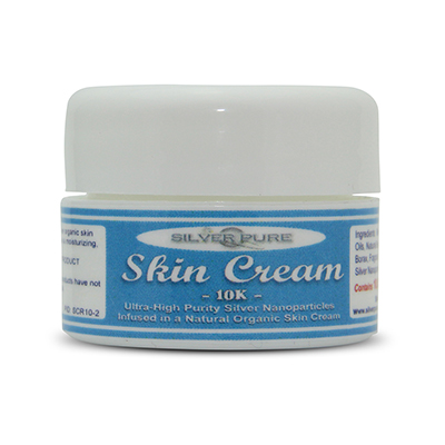 1/4 Ounce Jar-  Soothing, hydrating, nanosilver infused skin cream. Nanosilver is naturally antibacterial, antiviral and anti-fungal.    Contains  1% by weight  (10,000 ppm) of real nanosilver! We produce ultra-high purity .9999+ silver nanoparticle for use in our products. All natural, organic formulation with no harsh chemicals or preservatives. Use on any skin conditions on the surface of the skin. Contains over 1,000 times more real silver than typical silver gels!     Price:  $8.95