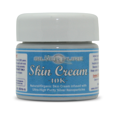 1/2 Ounce Jar-  Soothing, hydrating, nanosilver infused skin cream. Nanosilver is naturally antibacterial, antiviral and anti-fungal.    Contains  1% by weight  (10,000 ppm) of real nanosilver! We produce ultra-high purity .9999+ silver nanoparticle for use in our products. Contains over 1,000 times more real silver than typical silver gels!     Price:  $14.95