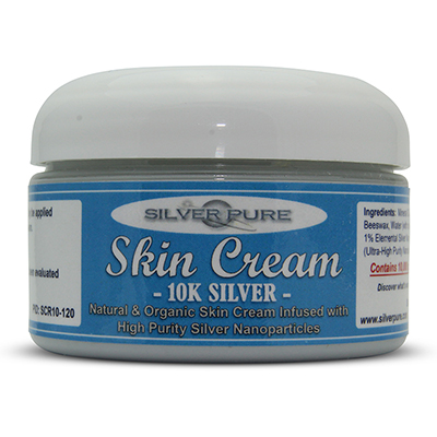 4    Ounce Jar-  Soothing, hydrating, nanosilver infused skin cream. Nanosilver is naturally antibacterial, antiviral and anti-fungal.    Contains  1% by weight  (10,000 ppm) of real nanosilver! We produce ultra-high purity .9999+ silver nanoparticle for use in our products. All natural, organic formulation with no harsh chemicals or preservatives. Use on any skin conditions on the surface of the skin. Contains over 1,000 times more real silver than typical silver gels!     Price:  $89.95