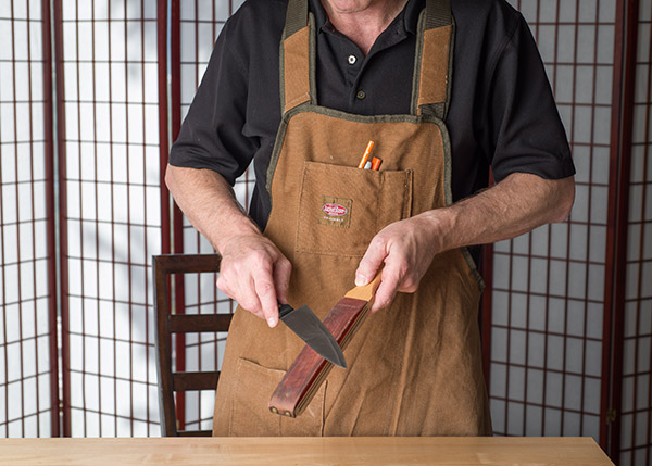 I finish each blade on a leather strop to give the edge a mirror smooth polish.