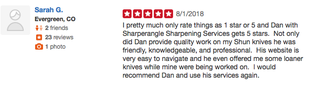 Sharperangle sharpening services, Evergreen CO, 5 stars, friendly, knowledgeable, professional