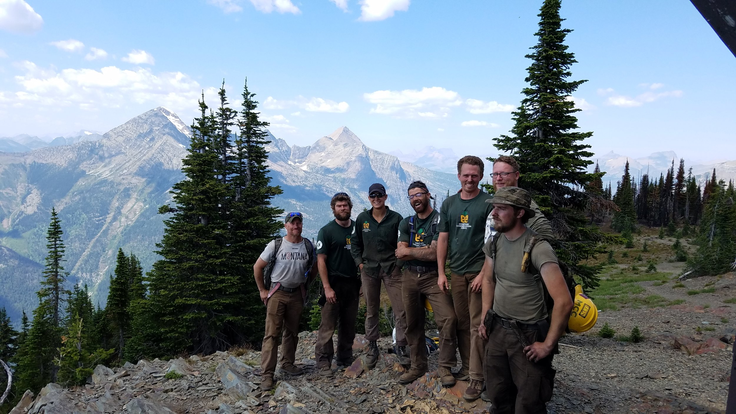 Spencer in Montana with other Veterans in the MCC program