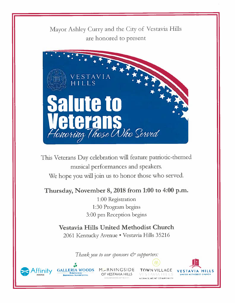 Vestavia Salute to Veterans Flyer
