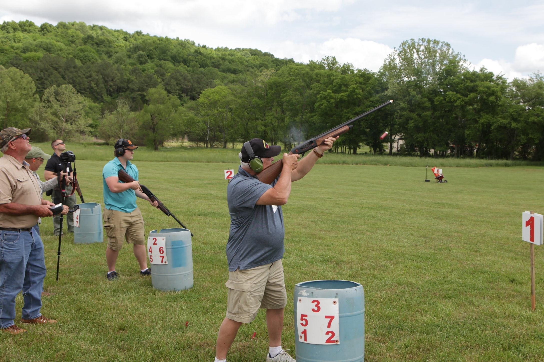 A shooter tests one of Beretta's top-of-the-line shotguns.