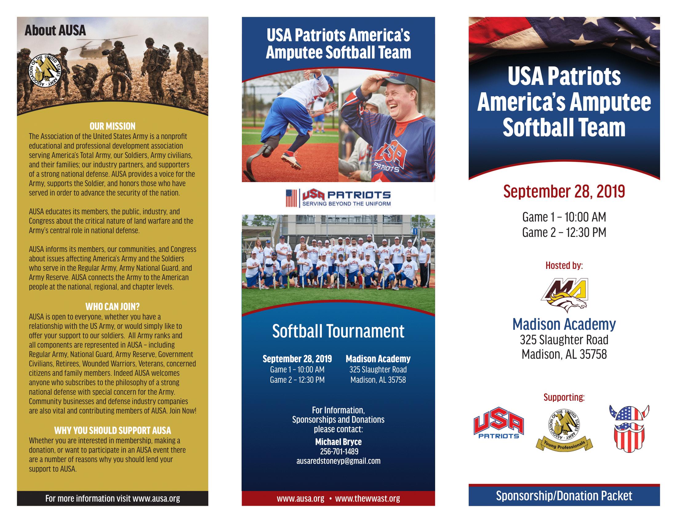 USA Patriots Softball Brochure