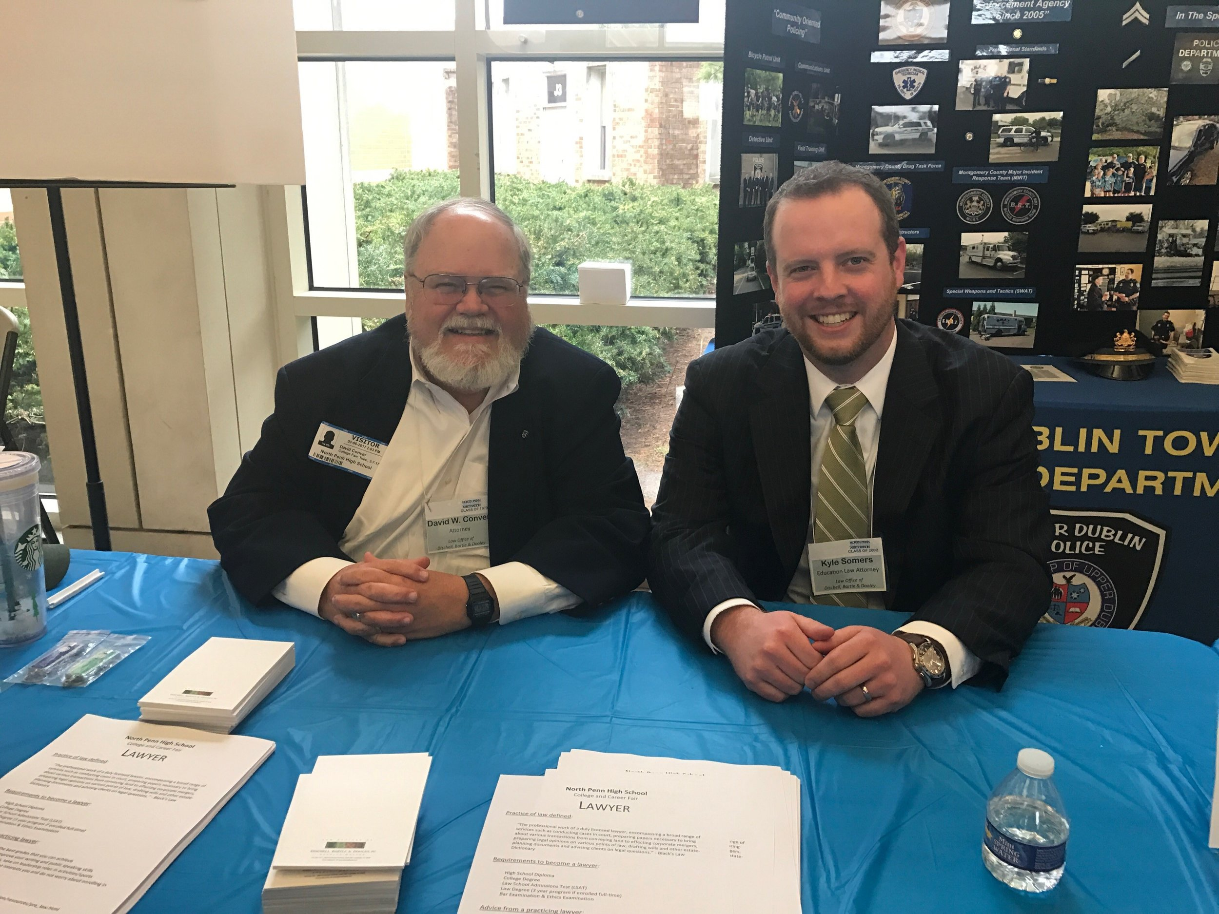 DBD attorneys David Conver and Kyle Somers representing DBD and the legal community at the North Penn HS College and Career Fair.