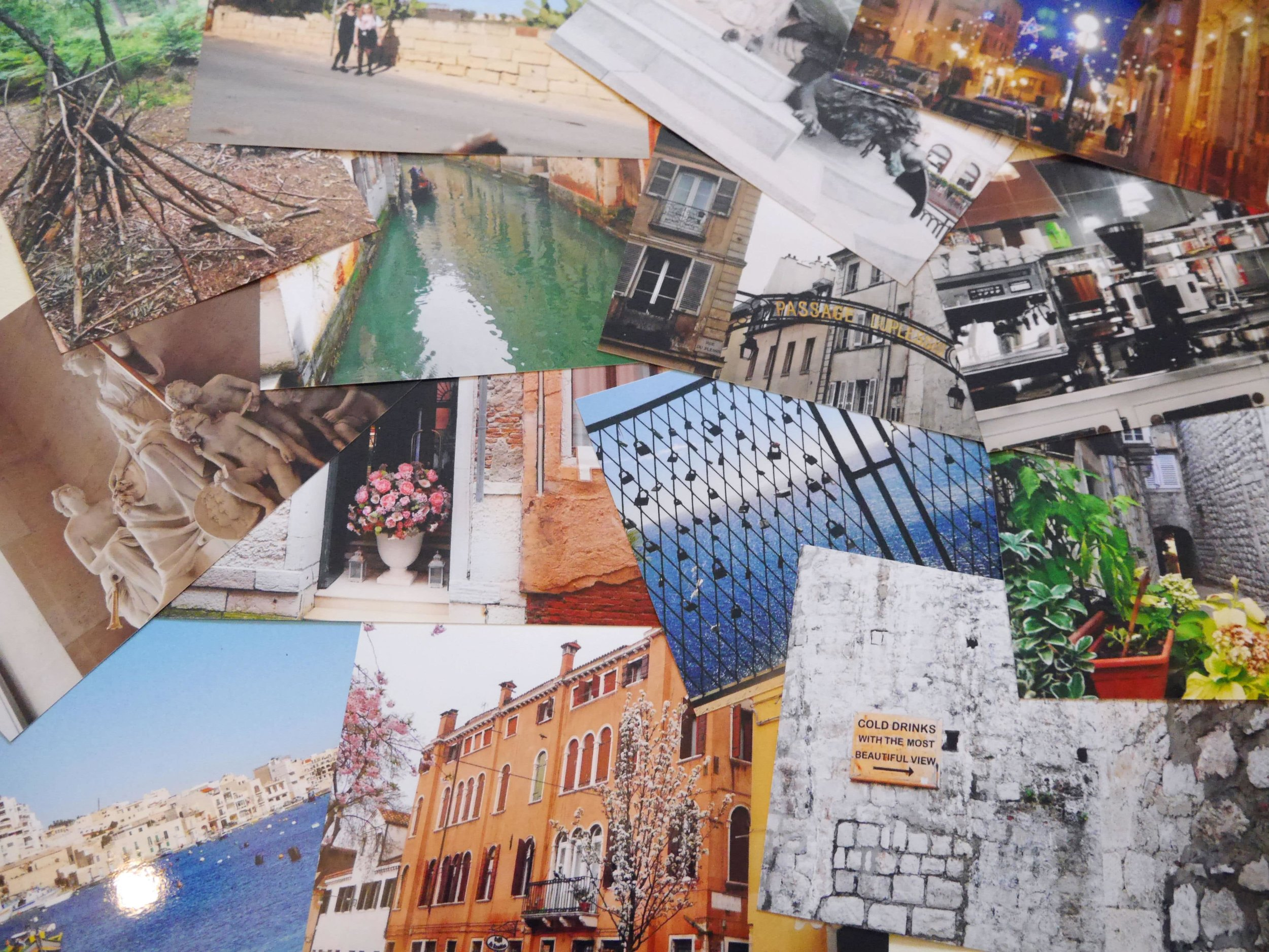 Printed snapshots from last year—Versailles, Paris, Rabat, Mdina, Dubrovnik, Venice and the New Forest
