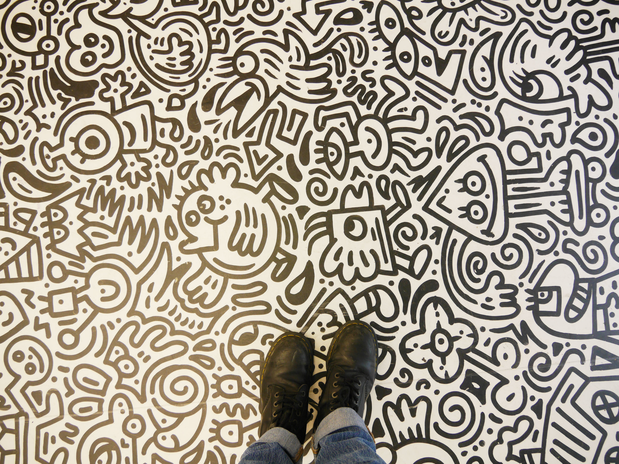 Doodle room at the Sense of Space exhibition in London.
