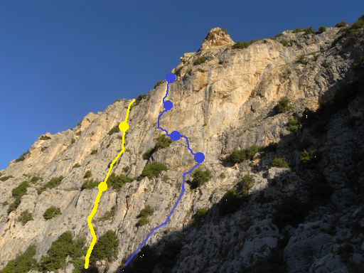 Foreshortened view of  Green Crack (trad in yellow) and the first four pitches of  Gold Mine