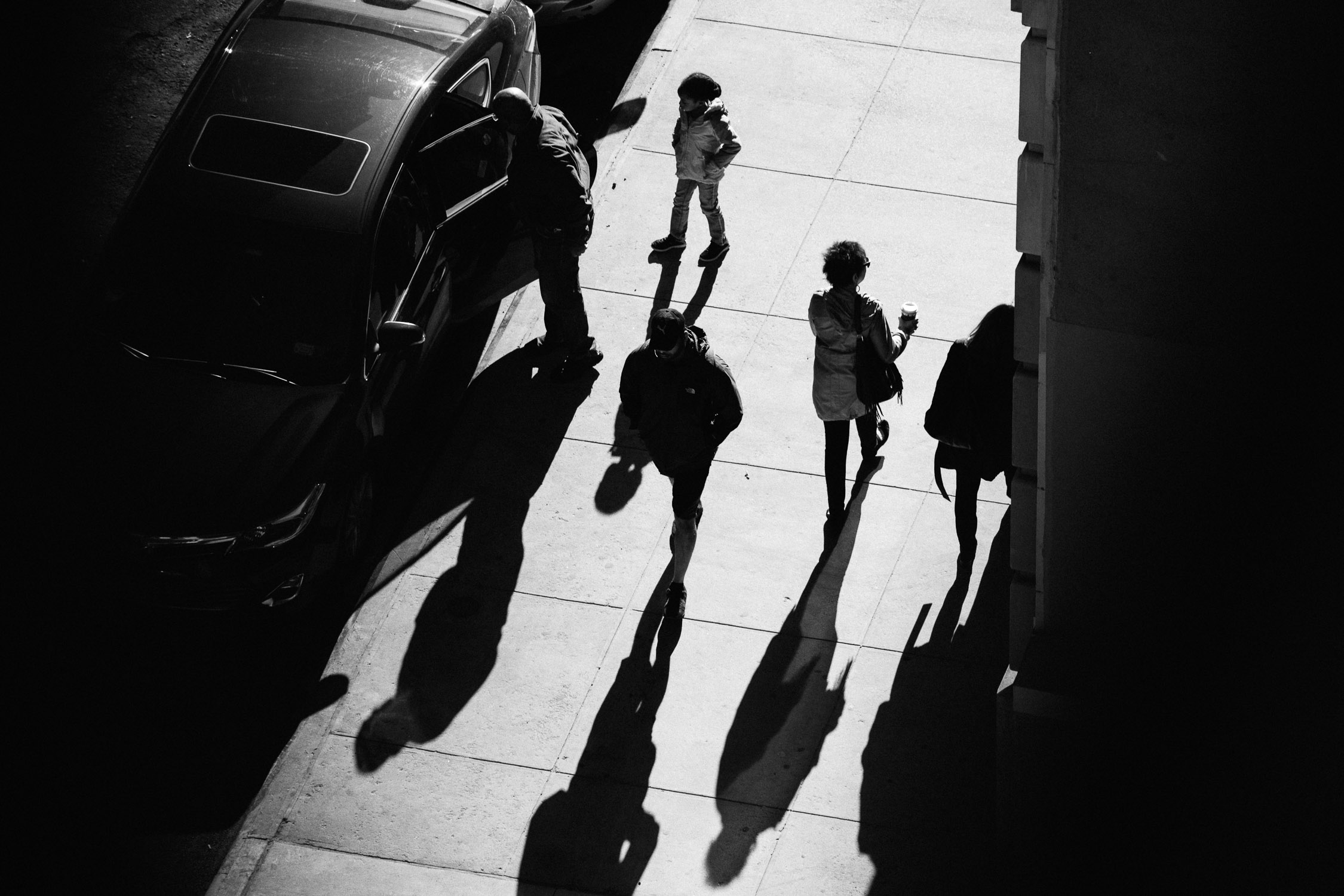 New York Manhattan people monochrome pavement hotel view