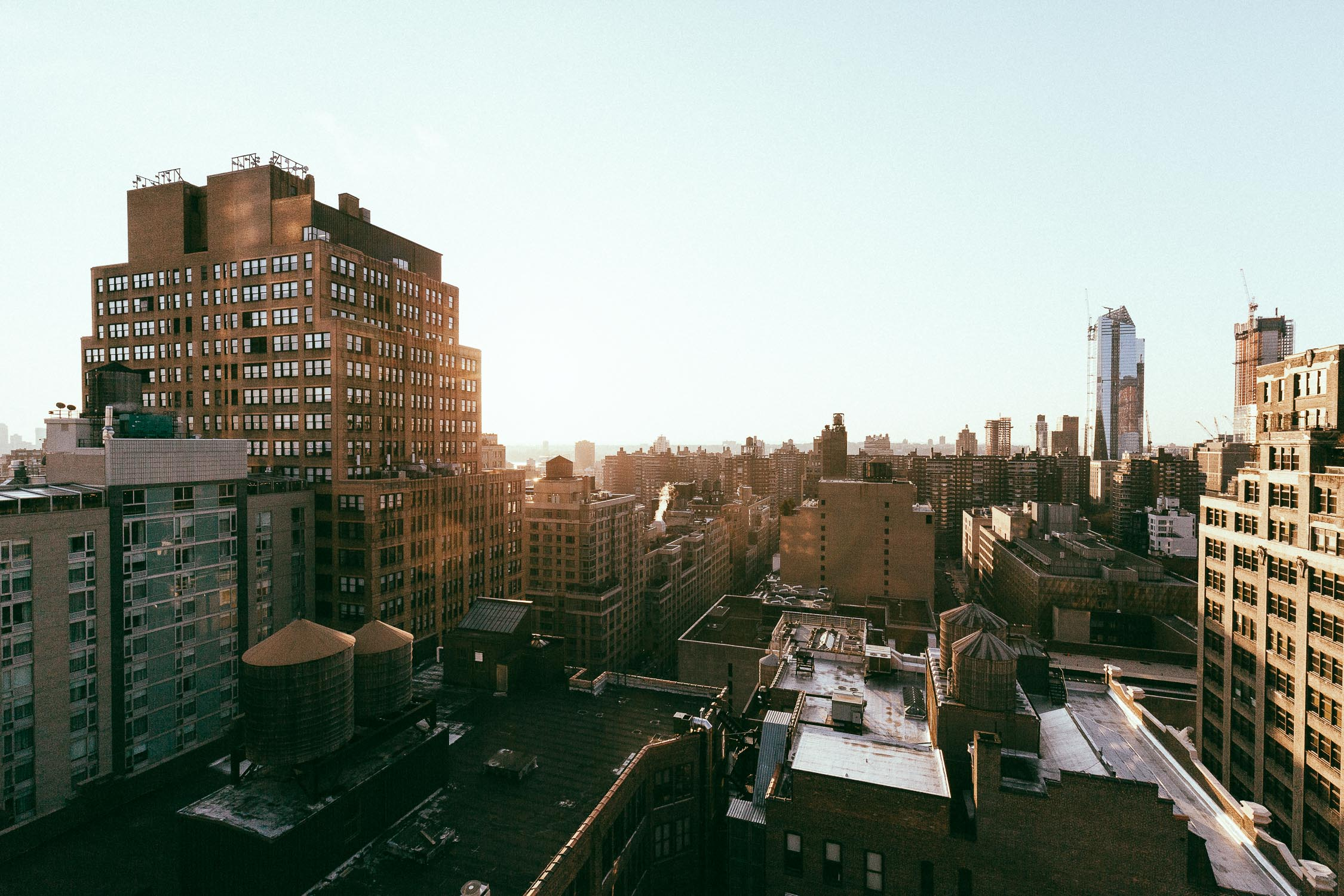 New York Manhattan sunset wide angle